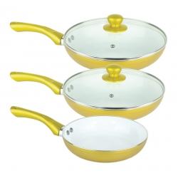 Patelnie ceramiczne GOLD 3 sztuki
